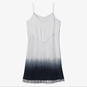 Design Lab White Ombré Fringe Dress
